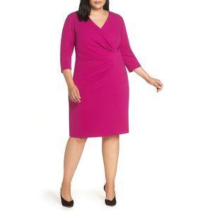Tahari Plus Size Ruched Sheath Dress Magenta 22W